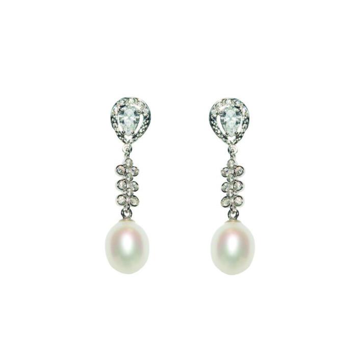 Pendientes Galore | Oro Blanco Circonitas y Perlas Cultivadas