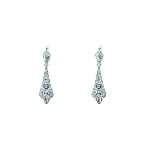 Pendientes Giulia | Oro blanco y Diamantes