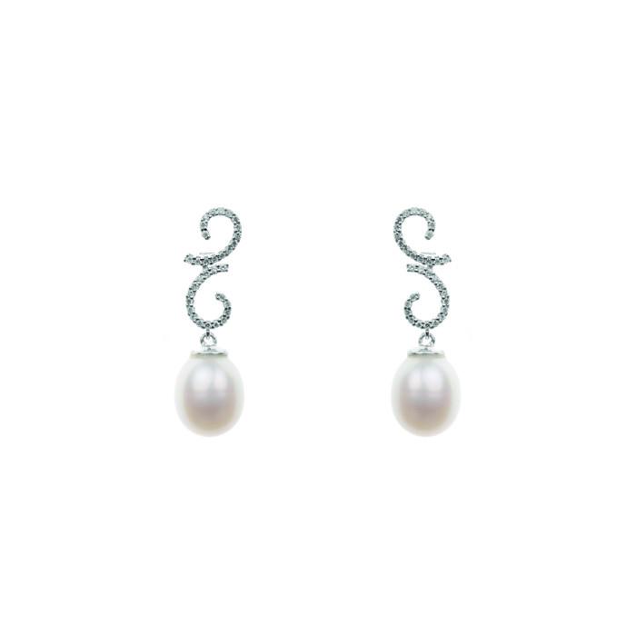 Pendientes Isa Oro Blanco, Diamantes y Perlas