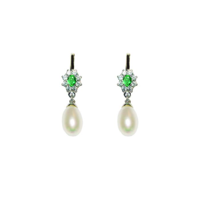 Pendientes Nadala | Oro Blanco, Esmeraldas y Perlas
