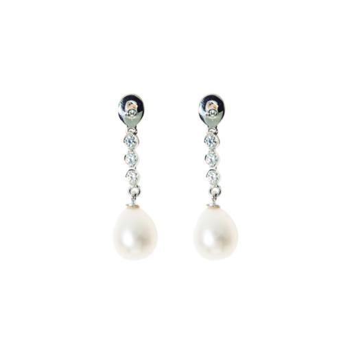 Pendientes novia oro blanco con perlas cultivadas