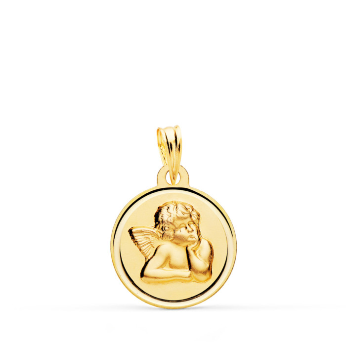 Medalla-Angel-Guarda-oro-amarillo-Bisel-Liso