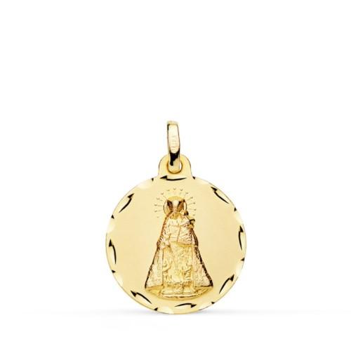 Medalla Virgen Desamparados Bisel rayado Oro